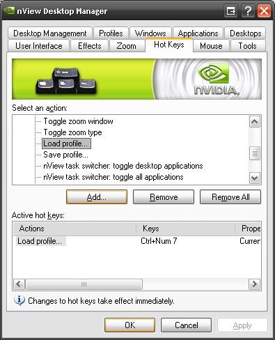 nVidia profile (keyboard) shortcuts