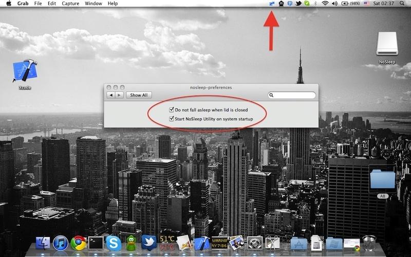 NoSleep for Mac OS X