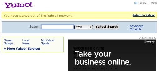 Yahoo Logout URL