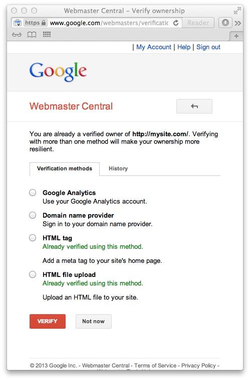 Google Domain Verifcation Url