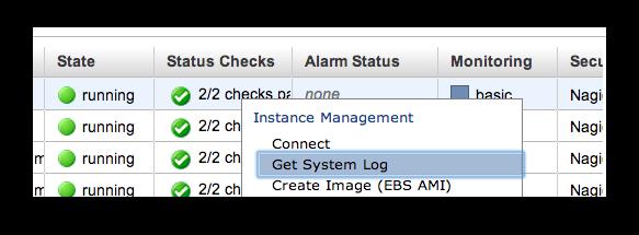 """get system log"" command line"
