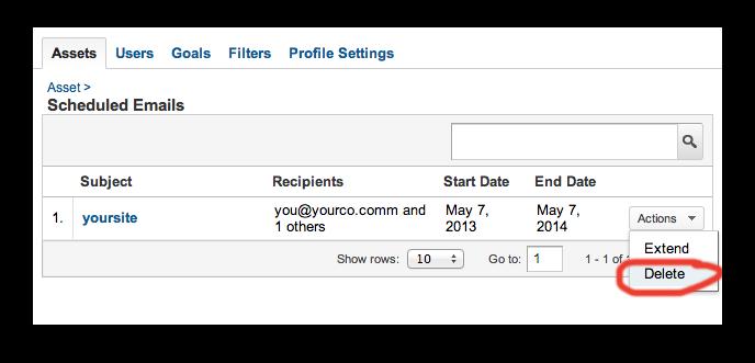 Google Analytics: Remove Email Report (new version)